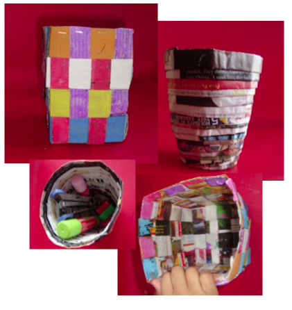 Paper Crafts - Weaved basket, spiral basket